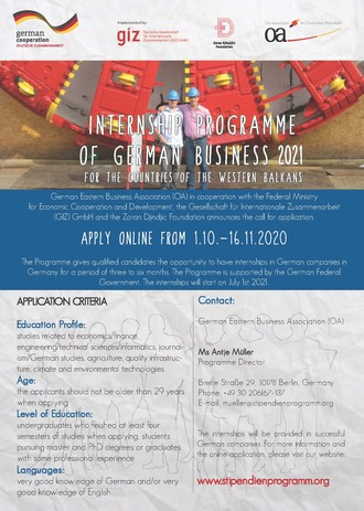 Internship Programme of German business 2021 for the countries of Western Balkans